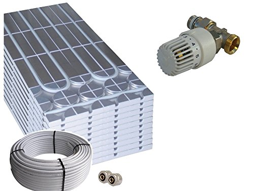 Trockenbau Fußbodenheizung Warmwasser, Sani-DRY Komplettsystem 5m² oder 10m² mit Verbundrohr 16x2mm und RTL Ventil - EnEV 2014, Fläche:5 qm