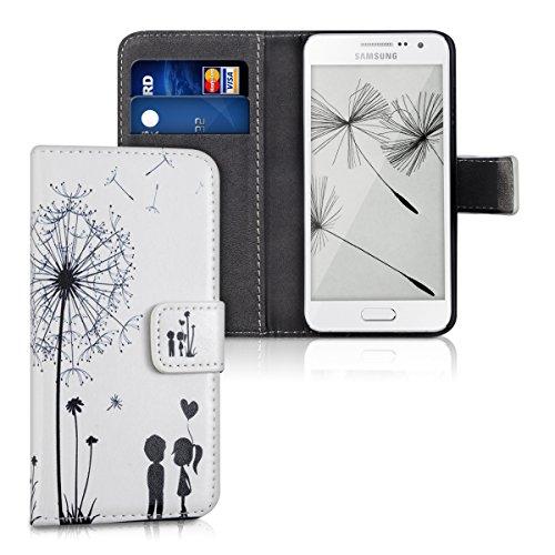 kwmobile Hülle kompatibel mit Samsung Galaxy A3 (2015) - Kunstleder Wallet Case mit Kartenfächern Stand Pusteblume Love Schwarz Weiß