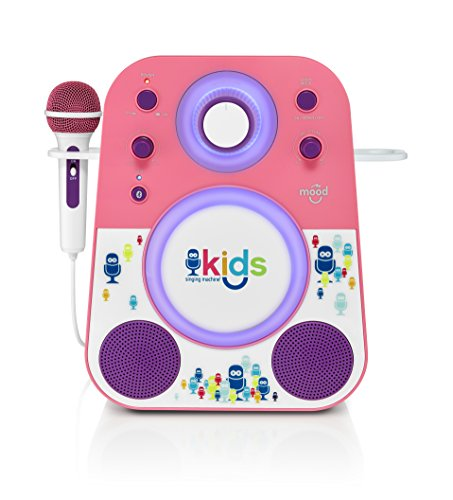 Singing Machine Kids Mood LED Glowing Bluetooth Sing-Along Speaker with Wired Youth Microphone Doubles as a Night Light, Pink/Purple, (SMK250PP)