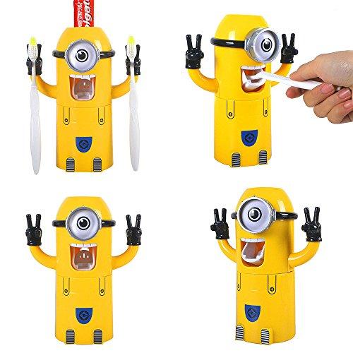 Un ojo Despicable Me Minion - Dispensador automático de pasta de dientes con taza de limpieza