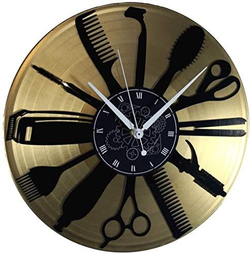 TIANZly Vinyle Double Horloge Murale Cadran Or Vintage À La Main Salon De Coiffure Coiffeur Coiffeur Barbe Silence Taille 30X30Cm
