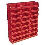 Sealey TPS124R - Cajones de almacenamiento apilables (plástico, 24 unidades, 103 x 85 x 53 mm), color rojo