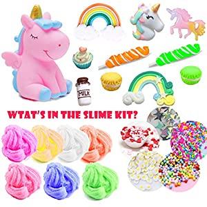 Unicorn Slime Kit for Girls to DIY Cloud Slime Kit Supplies Stuff Include 7 Colors Cloud Slime, Unicorn Toys, Colorful Foam Balls, Candy Cakes, Fruit Slices, Stars, Rainbow, Milk Bottle, Glitter Pack.
