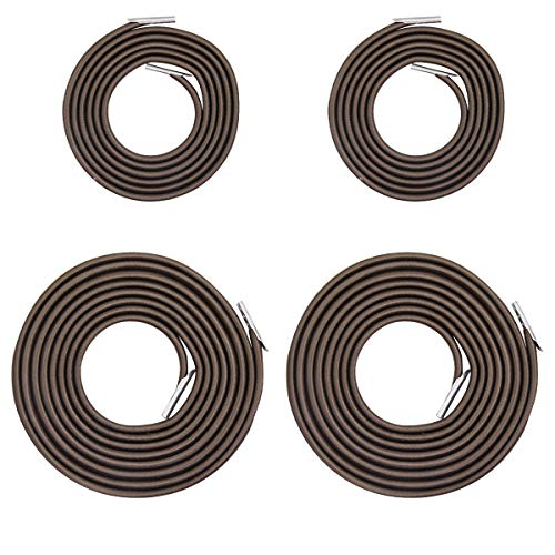 4PCS Universal Replacement Longer Cords for Zero Gravity Chair, Replacement Bungee Laces for Zero Gravity Chairs, Replacement Parts for Lounge Chair, Patio Recliners, Bungee Chair (Brown)