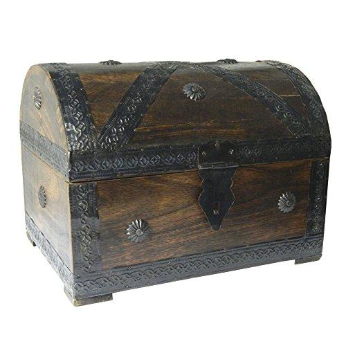 Baúl pirata de madera aspecto antiguo, 28 x 21 x 21 cm.