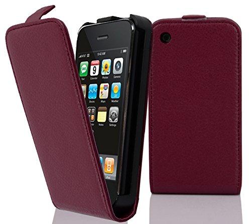 Cadorabo Hülle für Apple iPhone 3 / iPhone 3GS - Hülle in Bordeaux LILA – Handyhülle aus Strukturiertem Kunstleder im Flip Design - Case Cover Schutzhülle Etui Tasche