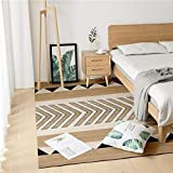 Pgron Mejor Precio-Camello patrón geométrico Alfombra sofá Mesa de café Dormitorio mesita de Noche Alfombra de Terciopelo Suave, 80 × 180 cm
