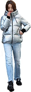QINGMM Womens Outwear Coats Fashion Water-Resistant Hooded Down Metallic Bomber Nightclub Party Jacket