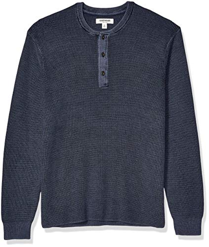 Amazon Brand - Goodthreads Men's Soft Cotton Henley Sweater, Washed Navy Medium