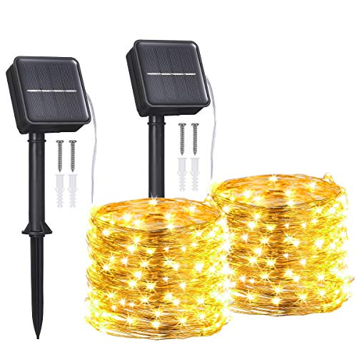 [2 Stück] Solar Lichterketten Aussen im Freien, Tomshine 12M/40Ft 120 LED Wasserdicht Kupferdraht Solar Lichterkette, 8 Modi Dekoration Weihnachtsbeleuchtung für Balkon, Garten, Bäume, Hochzeit.