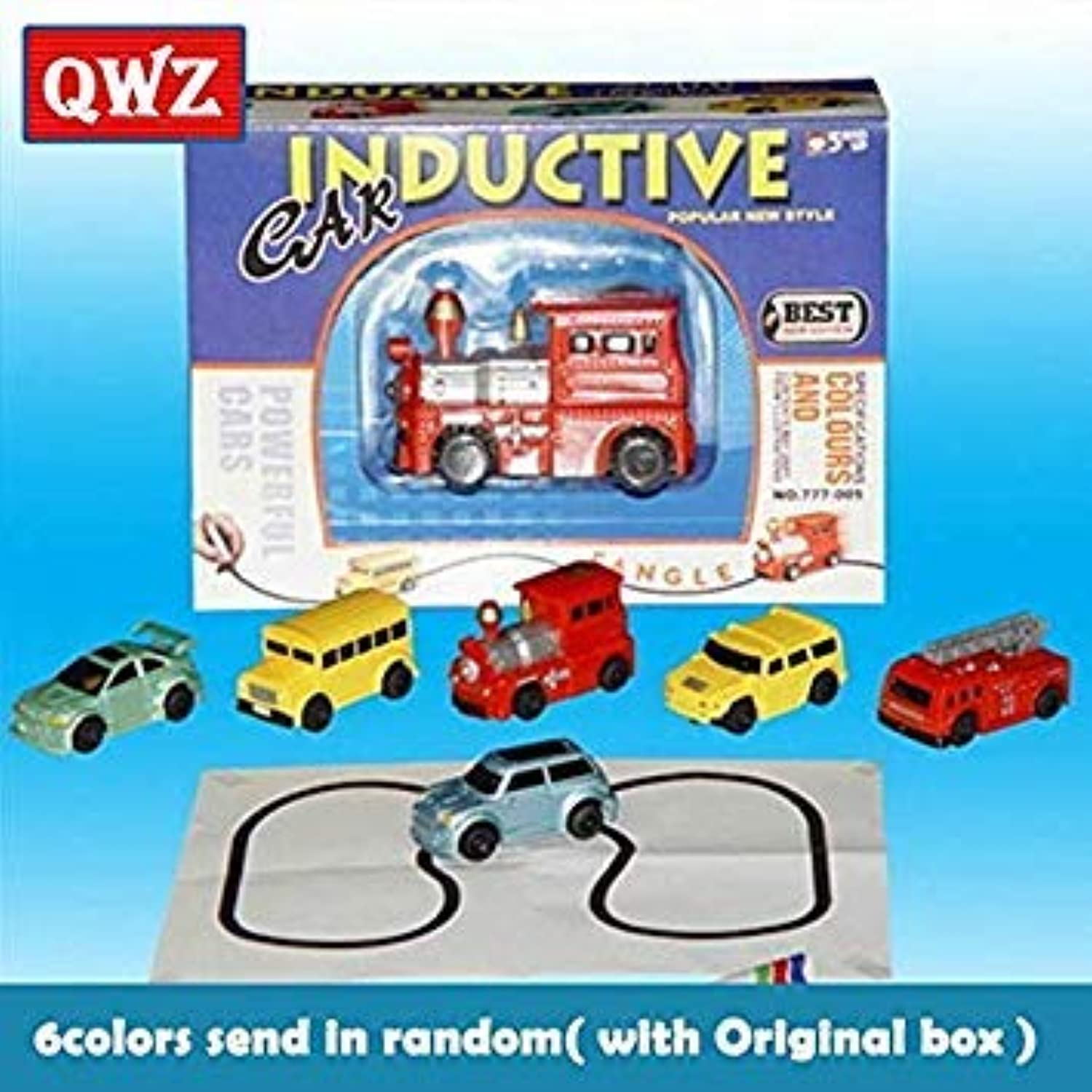 QWZ Magic Pen Inductive Car Truck Tank Follow Any Drawn Black Line Track Mini Toy Engineering Vehicles Educational Toy for Kids carY