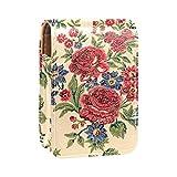 Estuche de lápiz labial con flores florales, soporte exterior para monedero, mini bolsa de lápiz labial, bolsa de cosméticos de viaje con espejo para mujer, toma hasta 3 pintalabios