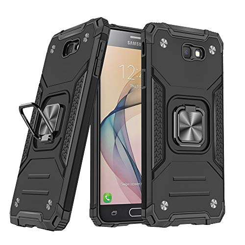 DASFOND Galaxy J7 Prime/On7 2016 Funda, Funda Protectora de Grado Militar para teléfono de Anillo de Metal Mejorado [Soporte magnético] Compatible con Samsung Galaxy J7 Prime/On7 2016, Negro