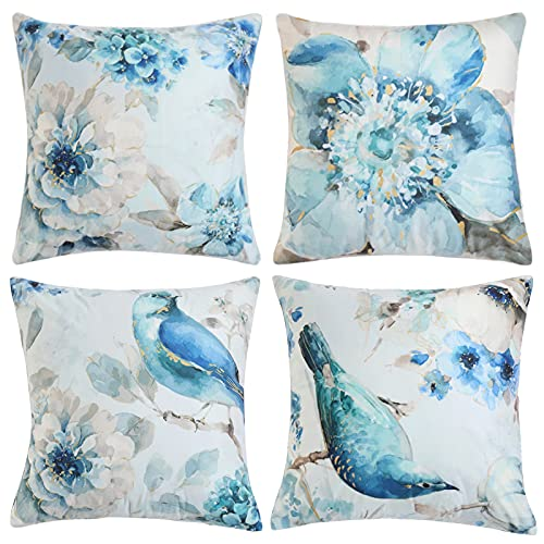DAPTSY Set de 4 Funda de Cojín Suave Terciopelo Funda de Almohada Cuadrado para Sofá Cama Decoración para Hogar 45x45cm Flores Pájaro Patrón Decorativo Cubierta Cojínes Azul