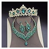 YTNGYTNG Venda Joyas de Cristal magníficas Conjuntos de Joyas for Mujeres Crown Crown Tiaras Pendientes Collares Jewelrry Set Fashion Novide Accesorio (Metal Color : Rhodium Plated)