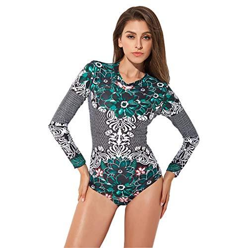 Alikeey 1 badpak voor surf- en dames, watersport, gevoerd, slankheid, slim stuk, met lange mouwen en sluiting, siamois bikini kostuum