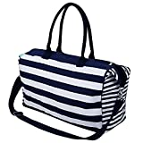 iwill CREATE PRO Travel Totes Luggage, Canvas Travel Storage Bag, Blue Stripes