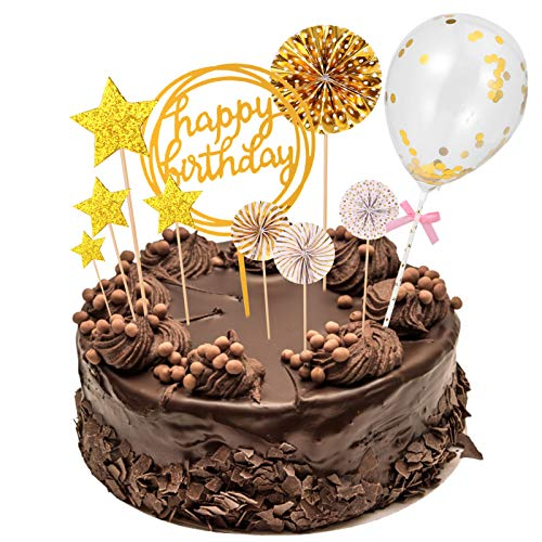 Xinstroe 13 Stück Happy Birthday Cake Topper, Goldkuchen Dekoration Papier Fans Konfetti Ballon Acryl Cupcake Topper für Geburtstagstorte Dekoration