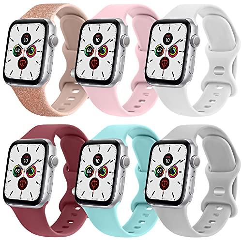 NAGAO 6PACK Correas Compatible con Apple Watch 38mm 42mm 40mm 44mm,Correa de Silicona Suave Pulseras de Repuesto para iWatch Series 6 5 4 3 2 1 SE,Mujer Hombre(38mm/40mm,6 Pack B)