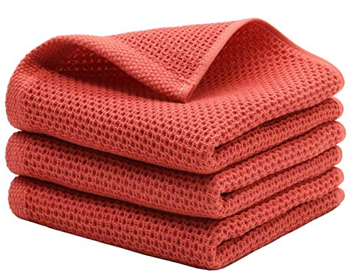 MiasDream Cotton Hand Face Head Towel Waffle Weave Kitchen Tea Towel Dish Towels Soft and Absorbent Bath Guest Gym Towel Washcloths 13inch x 28inch 3 PackBrick Red