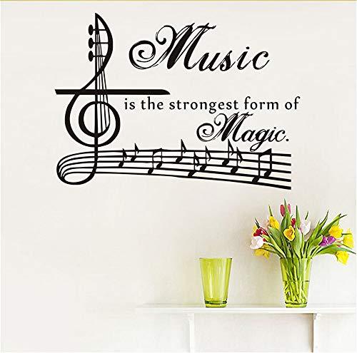 Lbonb Musik Ist Die Stärkste Form Der Magie Wandtattoos Kidsroom Vinyl Art Sticker Zitate Removable Clef Musical Notes Home Decor 80 * 58 Cm