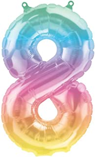 """PARTY FUN 16"""" inch No.8 Foil Balloons Rainbow Color for Birthday Party/Wedding/Anniversary Decorations (Pack of 1 piece)."""