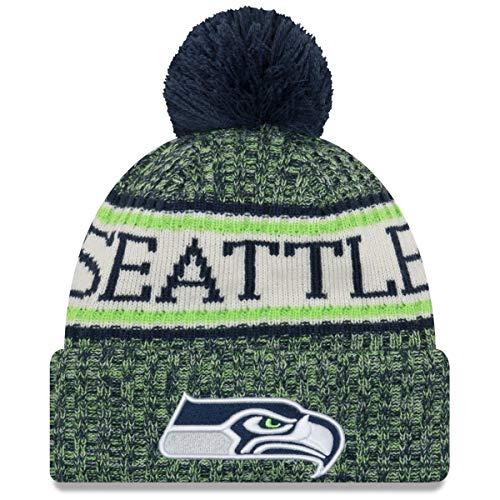 New Era ONF18 Sport Knit Bommelmütze Seattle Seahawks Blau Grün, Size:ONE Size