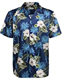 Hotouch Mens Hibiscus Tropical Shirt Aloha Hawaiian Shirts Navy Blue L