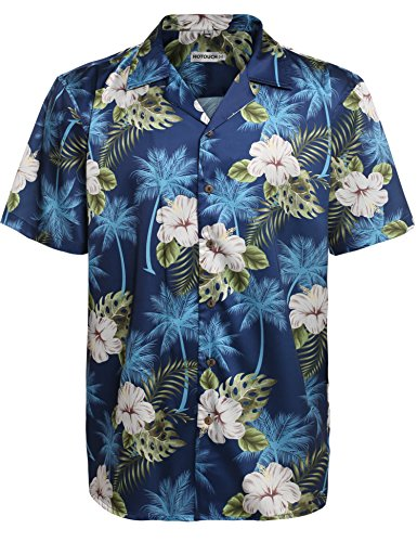 Hotouch Mens Hawaiian Shirt Funny Navy Blue XXL