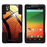MINITURTLE Compatible with ZTE ZMAX, ZTE Z970 Cover [Strike Impact] Dual Layer Hard Plastic Rugged Shell Soft Silicone with Kickstand - Basketball