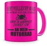 Samunshi® Tasse mit Spruch Ich denke an mein Motorrad Geschenk für Männer Kaffeebecher Kaffeepott neon pink