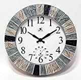 Infinity Instruments Slate 13 inch Outdoor Wall Clock Faux Slate Frame with Built-in Thermometer Combo Waterproof Large Outdoor Clock for Patios Weatherproof Battery Operated Quartz Movement