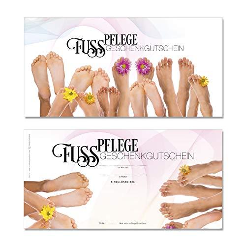 50 hochwertige Gutscheinkarten Geschenkgutscheine DIN-lang. Gutscheine für Fußpflege Fußpflegeinstitut. Vorderseite hochglänzend. FU9220