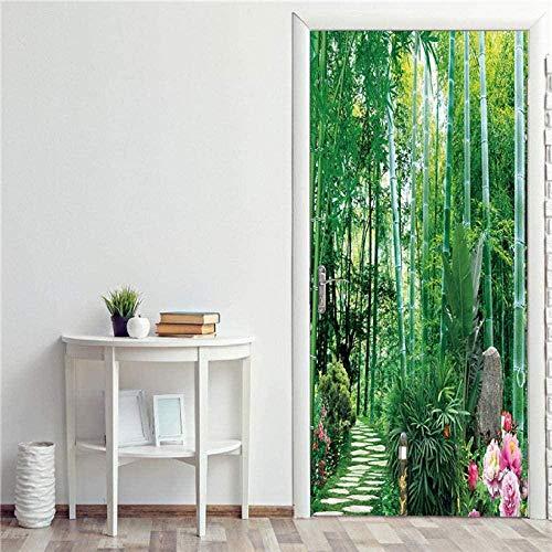 Adhesivo decorativo para puerta 3D con puertas de madera, autoadhesivo, impermeable, para salón, dormitorio, 77 x 200 cm