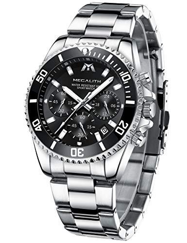 MEGALITH Herren Uhr Männer Chronographen Gold Edelstahl Wasserdicht Designer Armbanduhren Mann Silber Großes Leuchtende Analog Datum Business Uhren