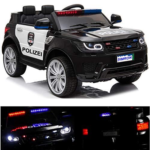 ?? Polizei Kinderauto Polizeiauto mit Funkgerät Sirene und Martinshorn Kinderfahrzeug Kinder Elektroauto Gefedert Hilfsrollen