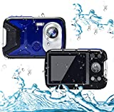Cocac Waterproof Camera 21MP 1080P Underwater Digital Camera with Flash 2.8 Inch LCD, Rechargeable HD Digital Camera for Snorkeling/Travel/Swimming(Blue & 16G Card)…