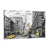 Cuadro sobre lienzo - Impresión de Imagen - Ciudad Taxi Rascacielos ilustración - 100x70cm - Imagen Impresión - Cuadros Decoracion - Impresión en lienzo - Cuadros Modernos - AA100x70-3148