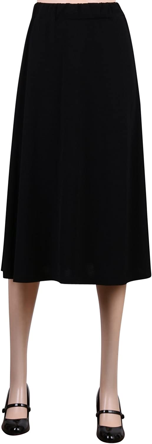ililily Solid Color Classic Fit Loose Fit Waist Band A-line Summer Skirt