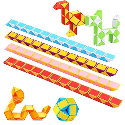 Eyscoco Schlange Würfel 12er 24 Blöcke Magische Geschwindigkeit Würfel Spielzeug Knobelspiele Kinder, Mitgebsel Kindergeburtstag Gastgeschenke Jungen Magische 3D Puzzle Zufällige Farben (12er)