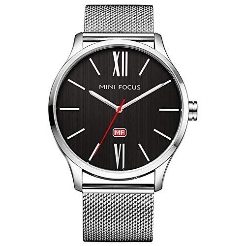 MHCYKJ Reloj de los Relojes de los Hombres de Acero Inoxidable Ultra...