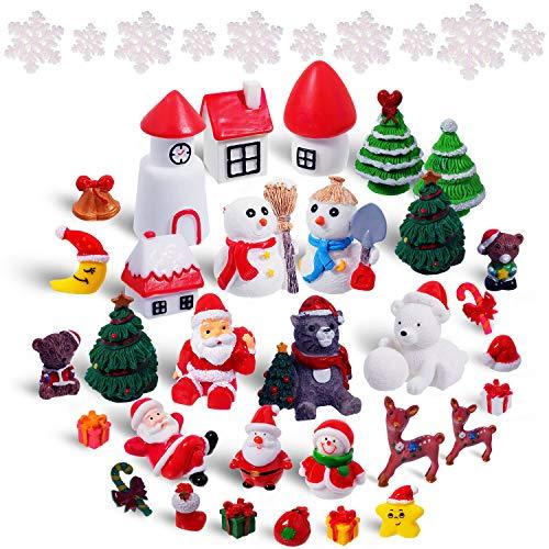 Sumind 42 Stück Mini Harz Weihnachten Ornamente Weihnachten Zubehör Mini Weihnachten Harz Santa Claus Schneemann Elch Weihnachtsbaum Miniatur Ornamente Kit Dekoration für Weihnachten DIY