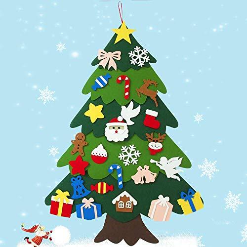 HOSPAOP Filz Weihnachtsbaum, 100cm DIY Weihnachtsbaum mit 25 Pcs Ornamente für Home/Wand Winter Hängend Dekor Filz Weihnachtsbaum zum DIY Handwerk