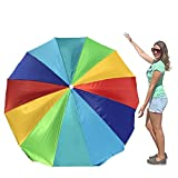 EasyGo Rainbow Beach Umbrella - Portable Wind Beach Umbrella Large – Folding Beach Umbrella Set with Screw Anchor and Carrying Bag (Rainbow-6Ft)