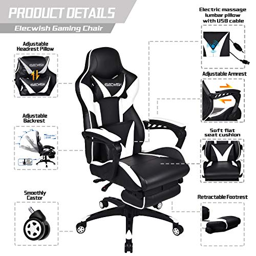 ELECWISH Massage Computer Gaming Chair