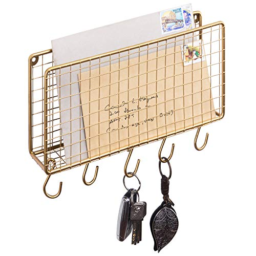 MyGift Modern Gold Metal Wire Wall Mounted Mail Sorter Storage Rack Organizer w/ 5 Removable Key Hooks