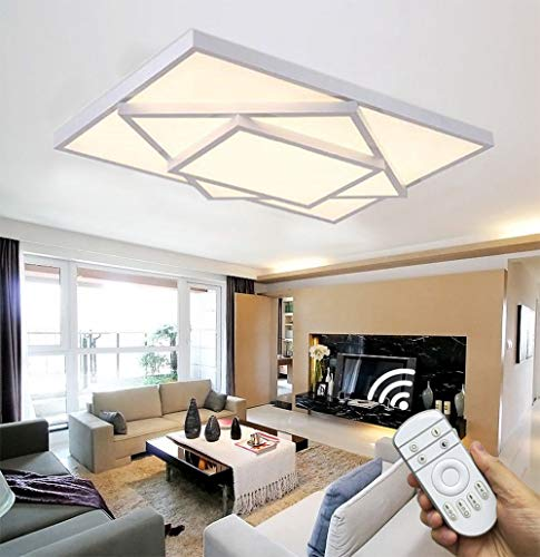 Style home 48W LED Deckenlampe Deckenleuchte Voll dimmbar mit Fernbedienung für Wohnzimmer Schlafzimmer Kinderzimmer Rechteckig (Weiß)