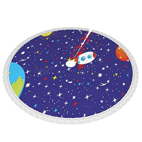 Starry Sky of The Universe with A Spaceship in Cosmic Planets and Earth,30inch Christmas tree skirt for Xmas Holiday Decorations Tree Ornaments