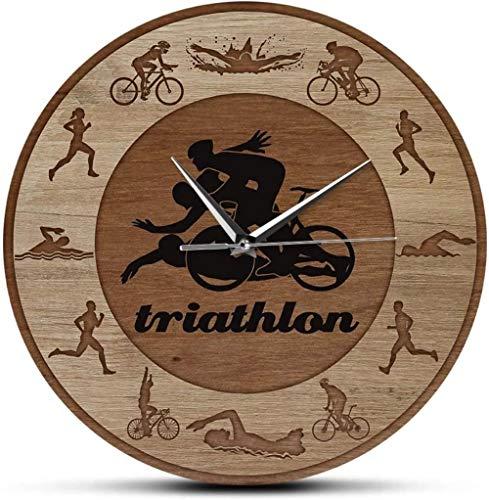 youmengying Co.,ltd Wanduhr Wanduhr Triathlon Silhouetten Holz Textur Acryl Print Wanduhr Schwimmen Radfahren Laufen Sport Home Decor Uhr Triathleten Geschenk