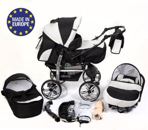Baby Sportive - Sistema da viaggio 3-in-1 (carrozzina, seggiolino auto e passeggino), con accessori, colore: Bianco/Nero